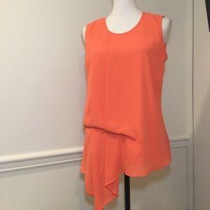 Mossimo Bright Orange Sleeveless Gathered Blouse